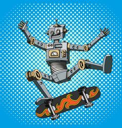 Pop art of a robot on a skateboard vector