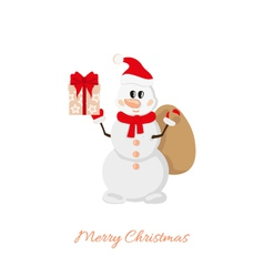 Postcard Snowman with bag and gifts vector image