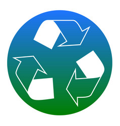 recycle logo concept white icon in bluish vector image