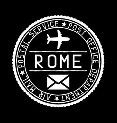 Rome mail stamp air mail postage service vector