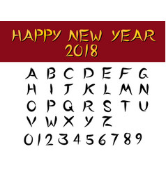 set of english font in chinese style vector image
