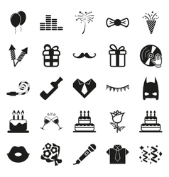 Simple black party and celebration icon set vector