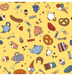 Tea and sweets seamless background vector