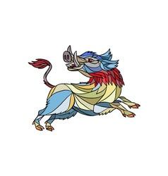 Wild Boar Razorback Prancing Mosaic vector image vector image