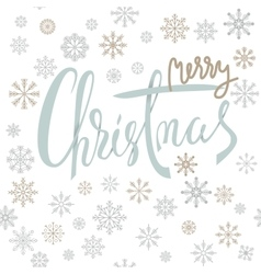 Merry Christmas silver lettering design with gold vector image