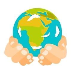 Earth hands vector image