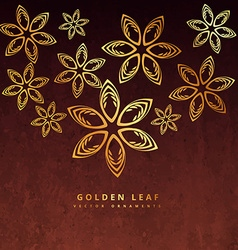 Golden leaf design in rusty background vector