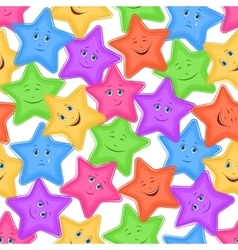 Seamless pattern colorful stars smiley vector