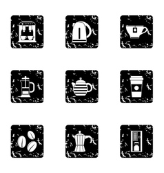 Types of drinks icons set grunge style vector