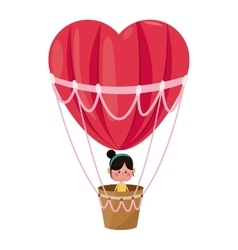 cute girl flying heart airballoon valentine day vector image