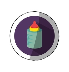 Sticker color silhouette with baby bottle in round vector
