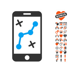 Route smartphone icon with lovely bonus vector