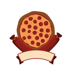 Pizza salami pepperoni banner vector