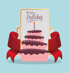 Happy birthday cake card festive vector