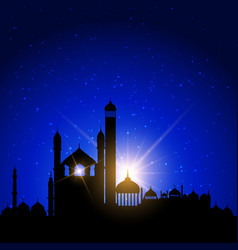 Mosque silhouettes against night sky vector
