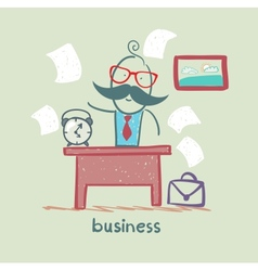People working at the desk business vector