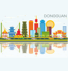 Dongguan skyline with color buildings blue sky vector
