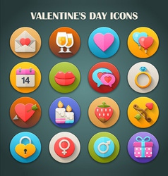 Valentines day icons with long shadow vector