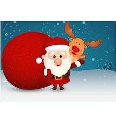 Santa Claus and bag with reindeer on winter scene vector image
