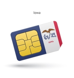 State of iowa phone sim card with flag vector