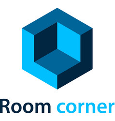 3d isometric room corner blue symbol vector