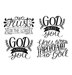 4 hand lettering god bless you god loves you vector image vector image