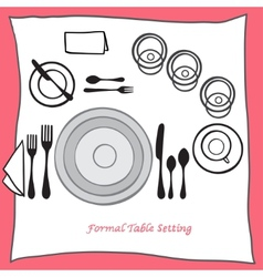 Dining table setting proper arrangement of vector