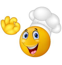 Chef smiley emoticon vector