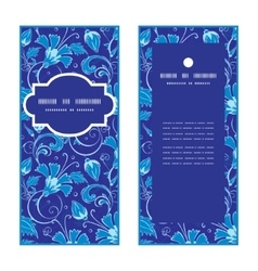 Dark blue turkish floral vertical frame vector