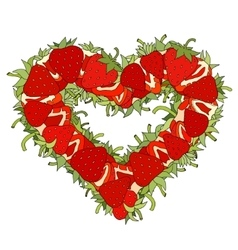 Heart made of strawberries vector