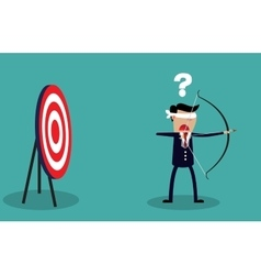 Blindfold businessman look for target vector