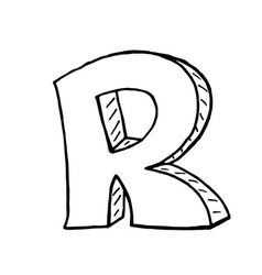 English alphabet - hand drawn letter r vector
