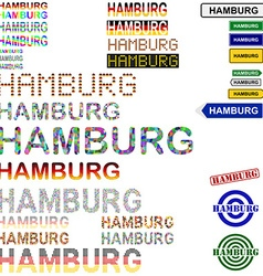 Hamburg text design set vector