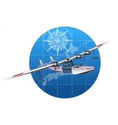 retro hydroplane 30-s vector image