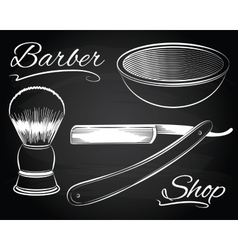 Vintage barber shop shaving straight razor vector
