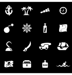 White pirate chart icon set vector