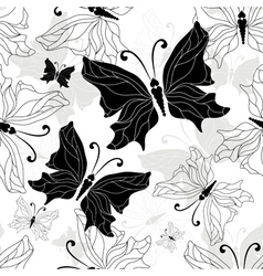 Black white butterfly vector