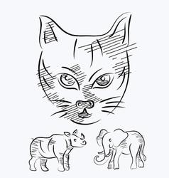 animal sketch vector image vector image