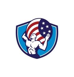 Atlas Carrying Globe USA Flag Crest Retro vector image vector image