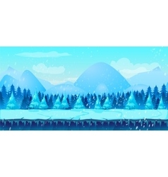 Beautiful winter landscape 2d game application vector