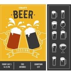 Beer festival event poster and icon set vector image vector image