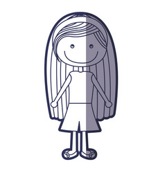 Blue color contour caricature long hair girl with vector