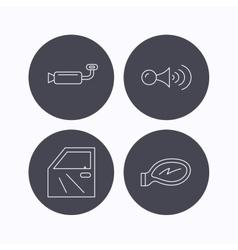 Car door muffler and klaxon signal icons vector image