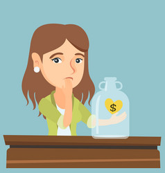Caucasian broke woman looking at empty money box vector