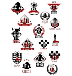 Chess sport game icons emblems and symbols vector