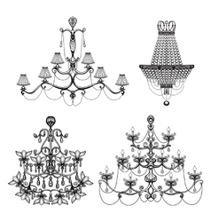 Decorative chandelier set vector