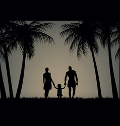 father mother and daughter on the beach vector image vector image