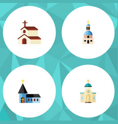 Flat icon christian set of church religious vector