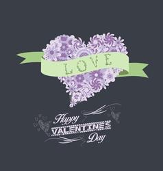 Florals heart happy valentines romantic vector