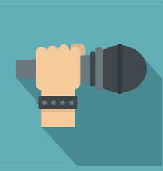 Hand microphone icon flat style vector